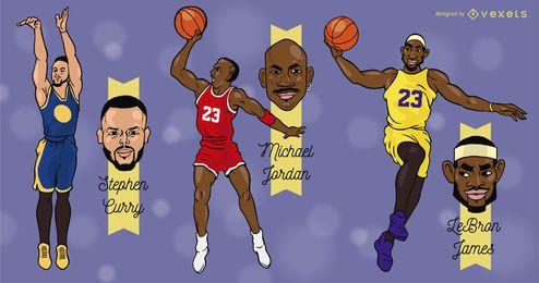 Desenhos animados de jogadores de basquete