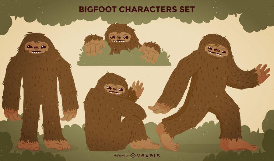 Bigfoot characters illustration set