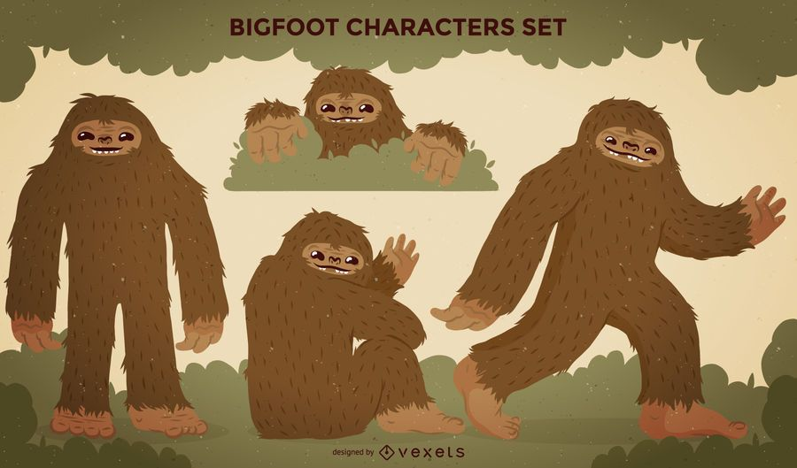 Bigfoot-Zeichen-Illustrationssatz