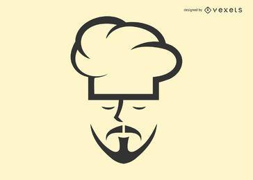 Modelo de logotipo de rosto de chef