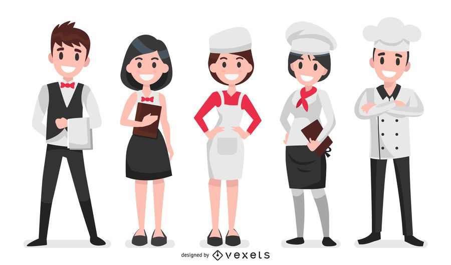 Restaurant characters illustration set