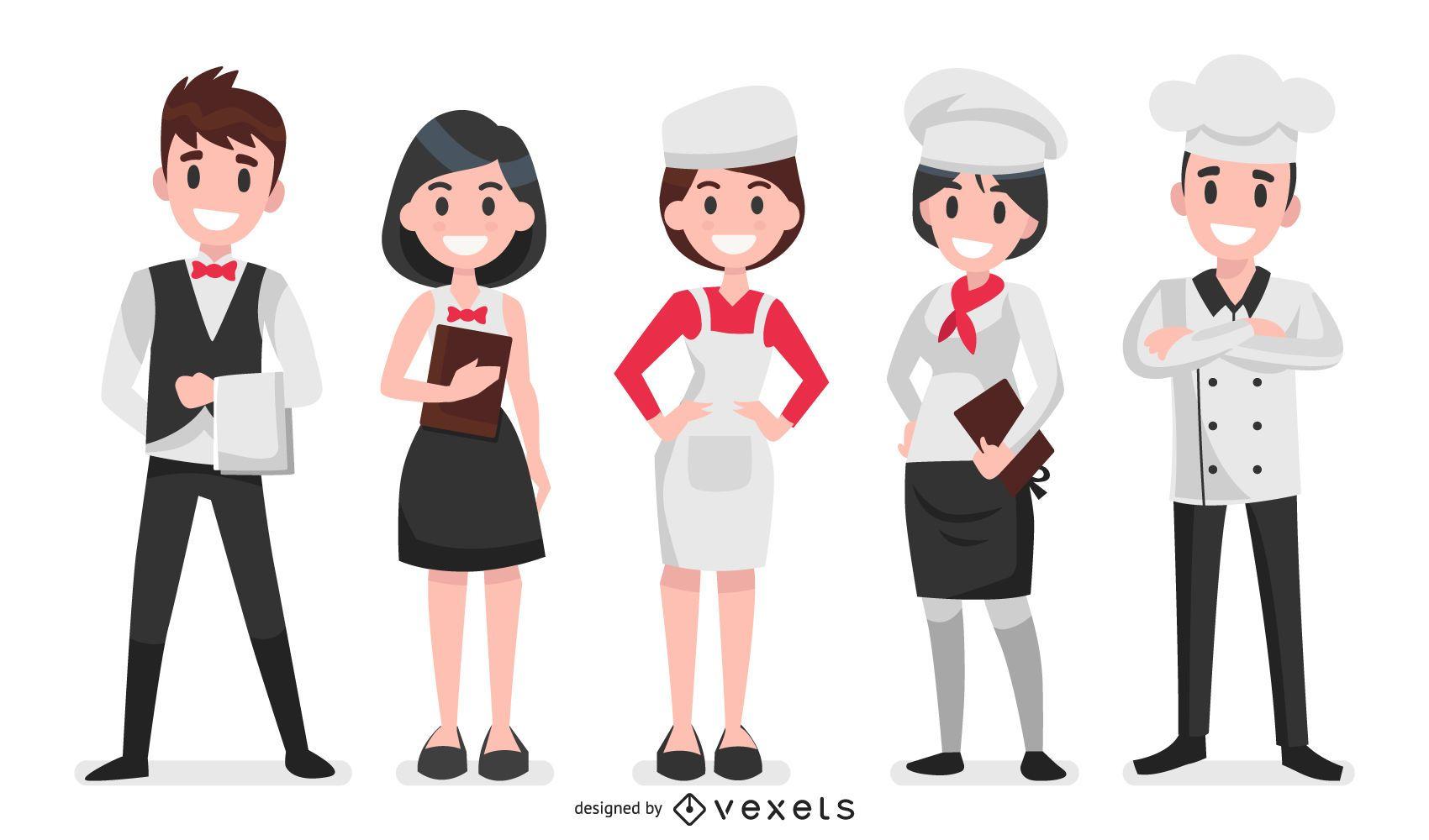 Conjunto de ilustración de personajes de restaurante
