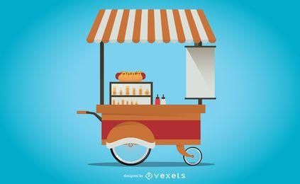 Ilustración de carrito de pie de hot dog