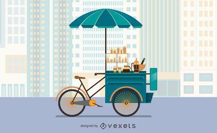 Ilustração de carrinho de comida de bicicleta