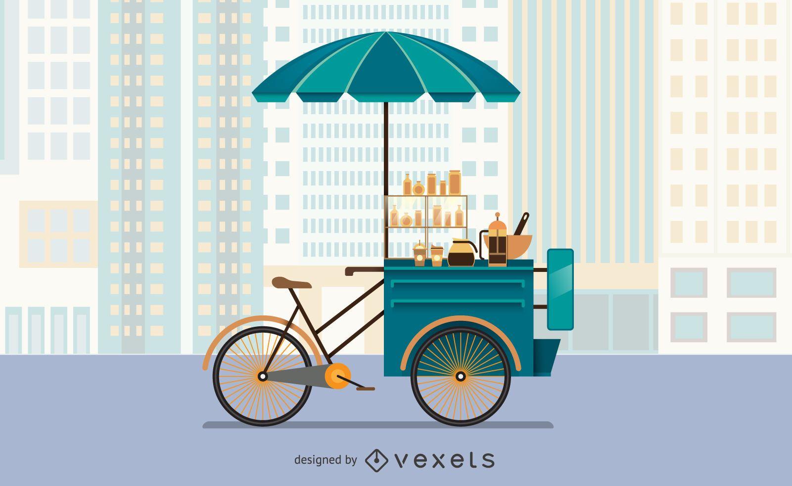 Ilustración de carrito de comida de bicicleta