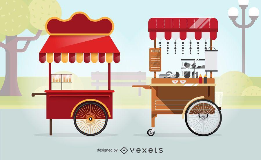 Conjunto de ilustração de carrinhos de comida