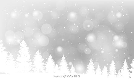 Fundo de Natal de floresta de pinheiros nevado
