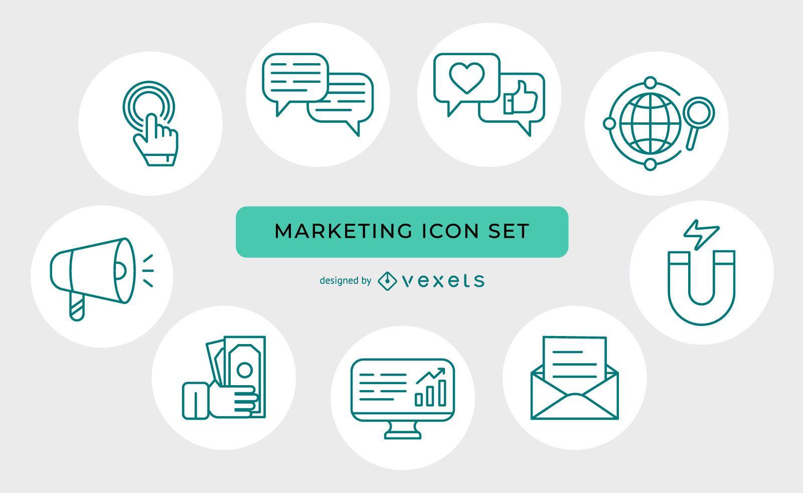 Conjunto de ícones de marketing de linha fina