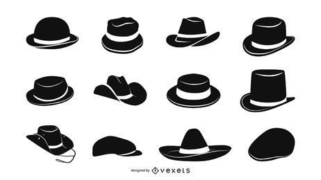 Conjunto de ícones de chapéus masculinos