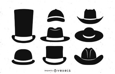 Conjunto de silhueta de chapéu