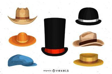 Conjunto de dibujos de sombrero de hombre.