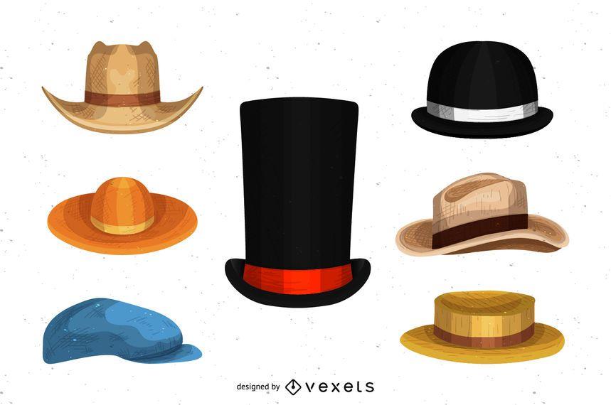 Conjunto de desenhos de chapéu de homens