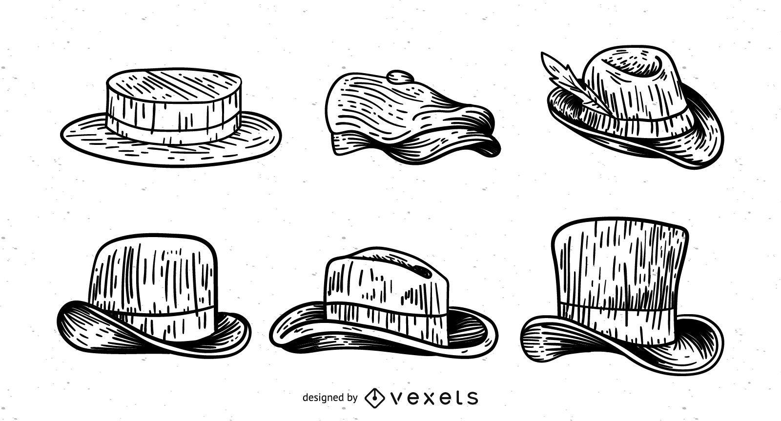 Conjunto de sombreros de hombre dibujados a mano