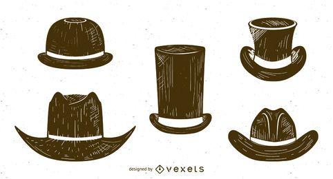 Conjunto de bocetos de sombreros de hombres