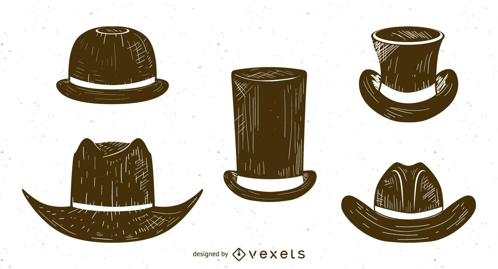 Sombreros de hombres boceto conjunto - Descargar vector a2ddc74c28b