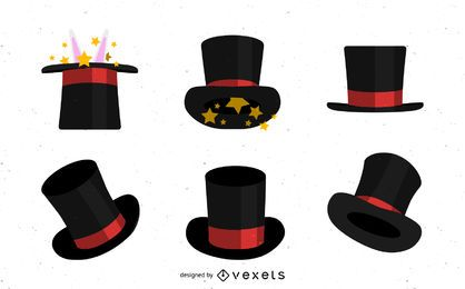 Conjunto de sombreros de copa de mago