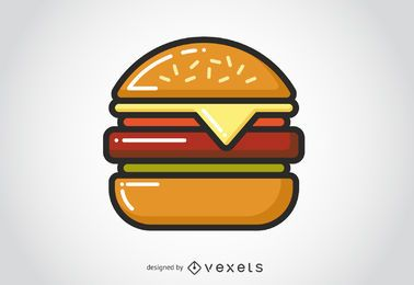 Ícone plana hambúrguer