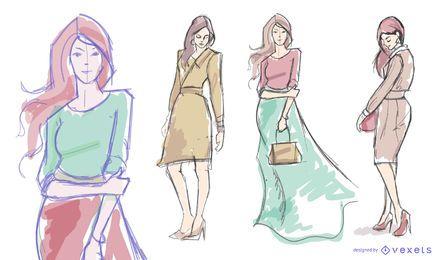 Frauenmodell-Mode-Zeichnungssatz