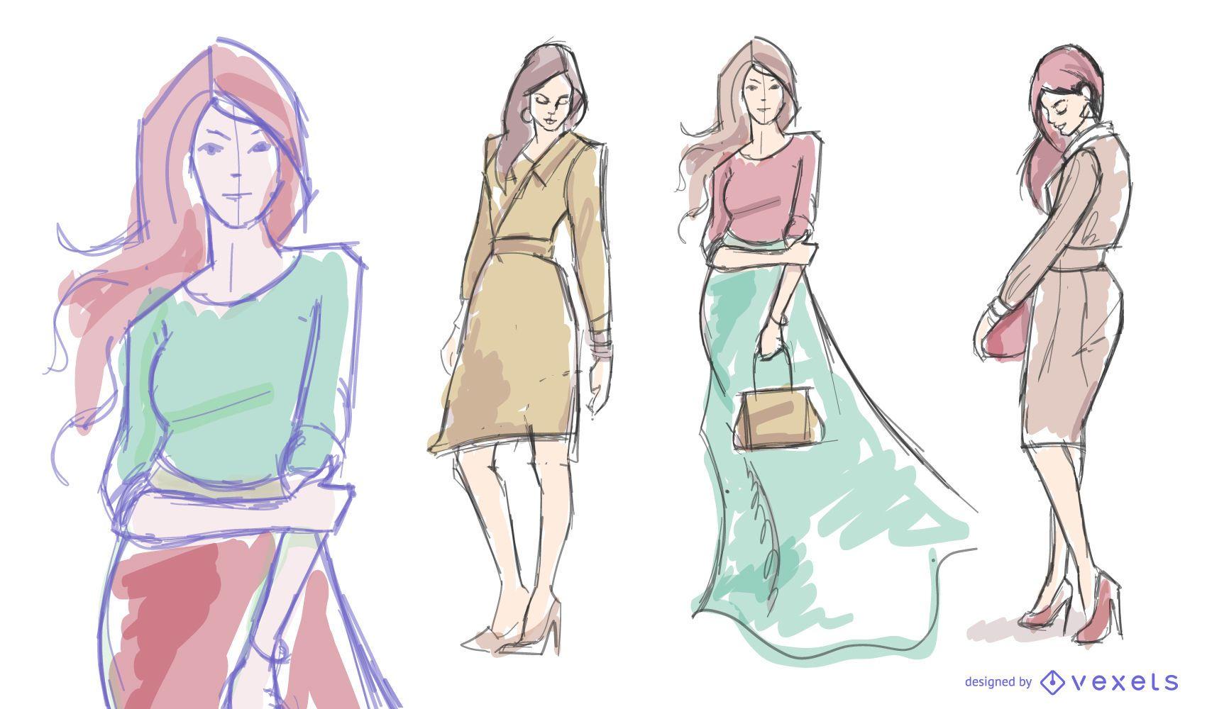Conjunto de dibujo de moda modelo de mujer