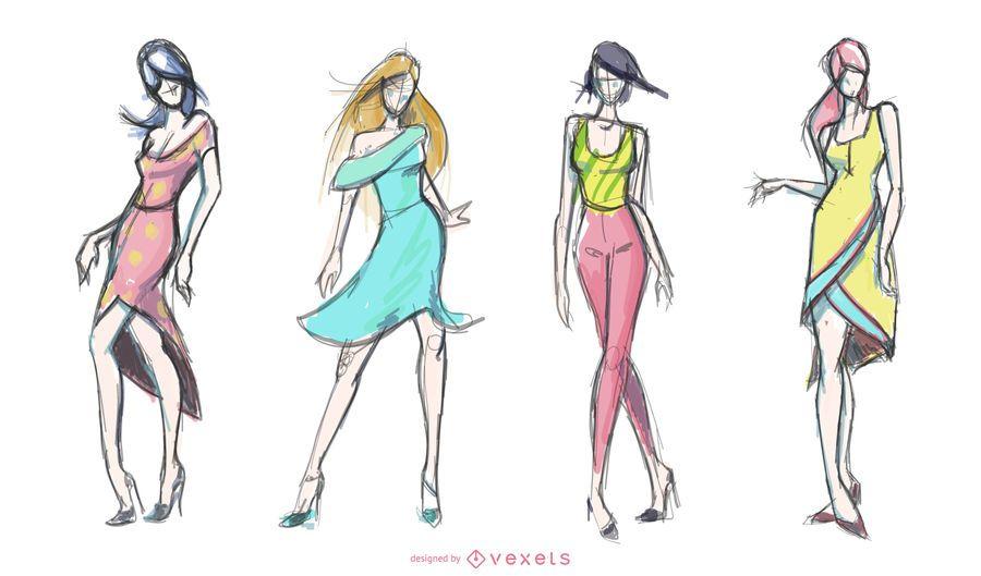 Conjunto de dibujos de moda femenina.