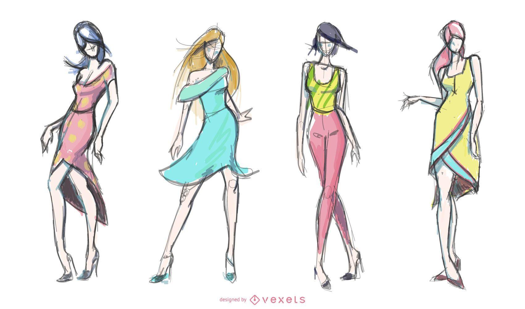 Conjunto de dibujos de moda para mujeres