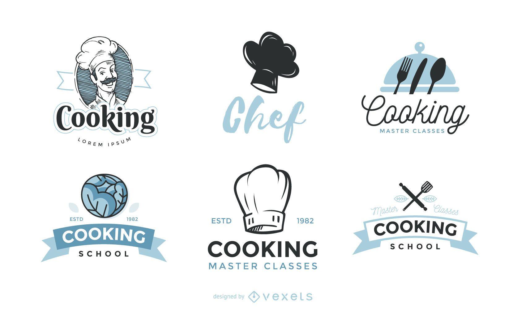 Conjunto de modelos de logotipo de chef