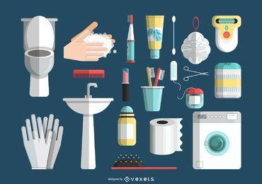 Conjunto de ícones de banho e higiene