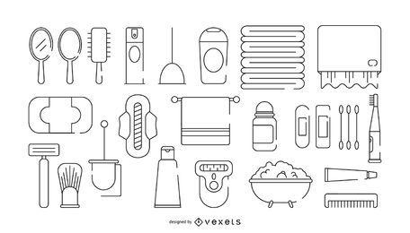 Conjunto de ícones de traçado de banho