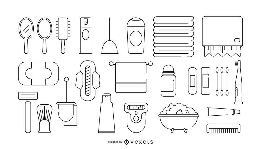 Bath stroke icon set