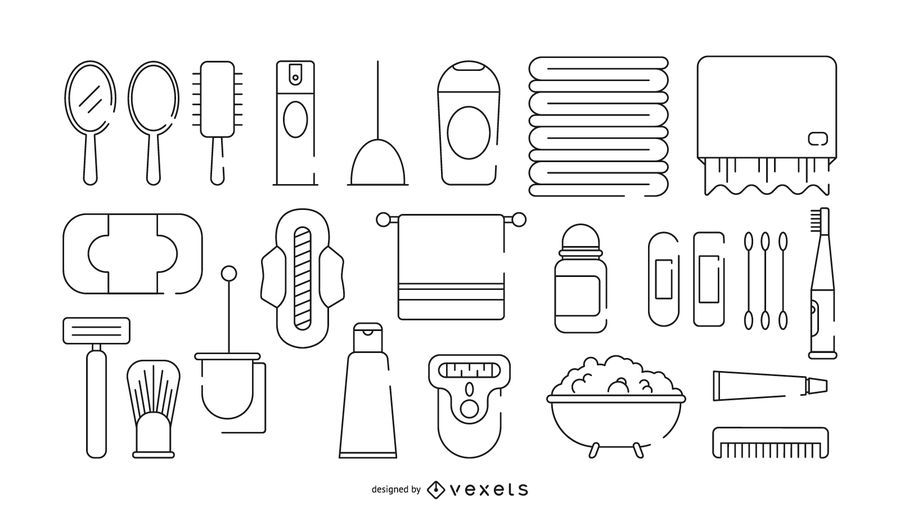 Conjunto de iconos de trazo de baño