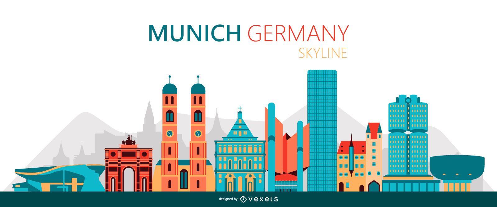 Munich skyline illustration