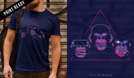 Diseño de camiseta de cabezas de mono