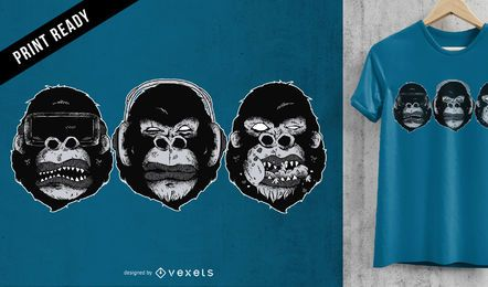 Gorila heads diseño de camiseta
