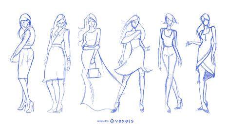 Conjunto de desenhos de moda