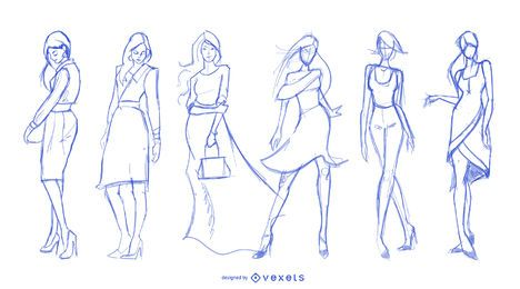 Fashion drawings set