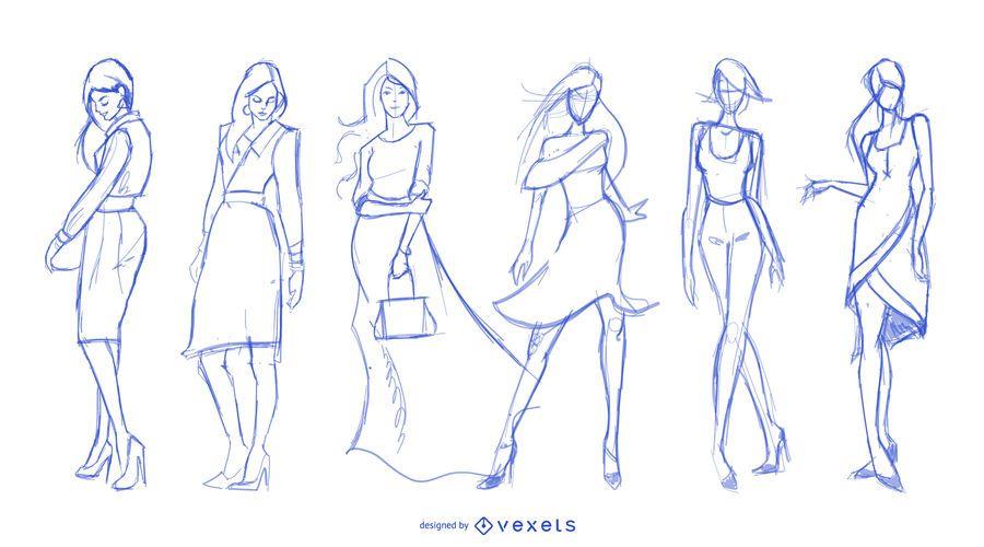 Conjunto de dibujos de moda