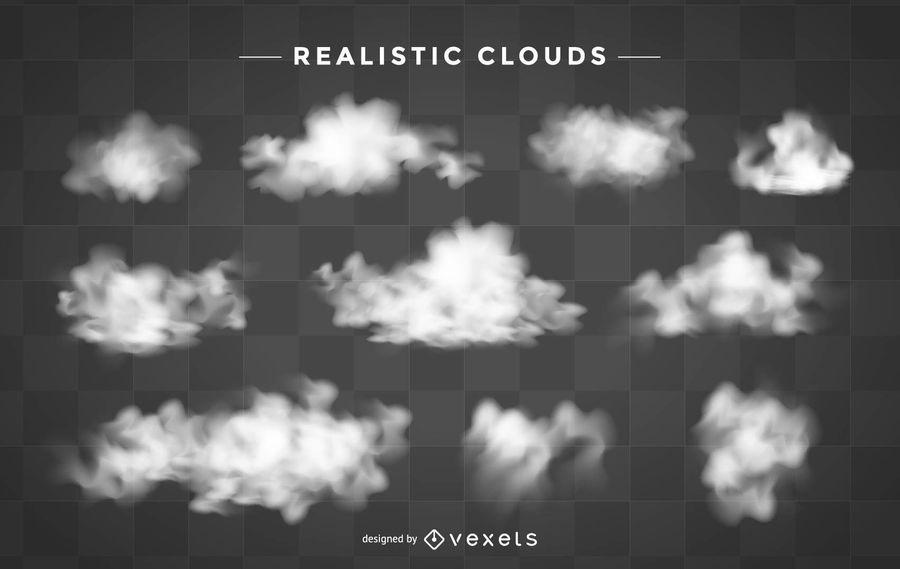 Conjunto de nuvens realistas