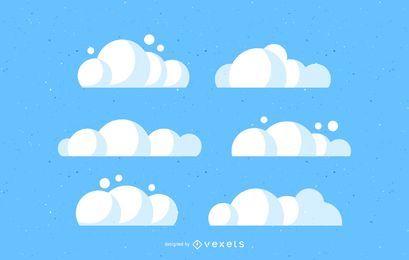 Conjunto de ilustrações de nuvens