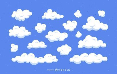 Clouds cartoon illustration set