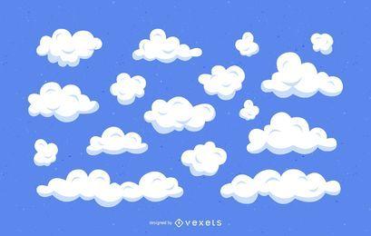 Conjunto de ilustração de desenhos animados de nuvens