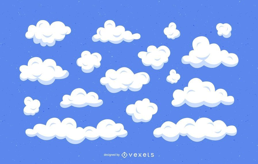 Wolken-Karikaturillustrationssatz