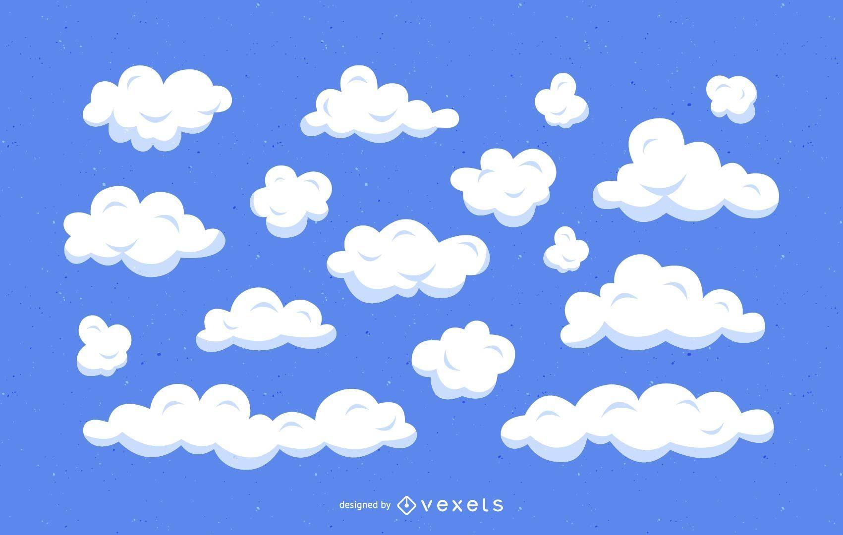 Conjunto de ilustración de dibujos animados de nubes