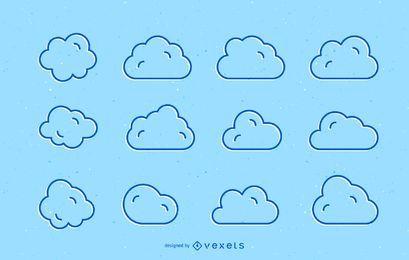 Conjunto de trazos de nubes