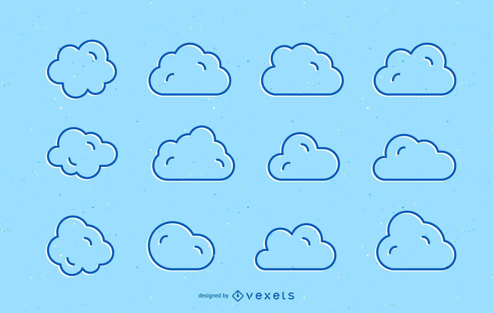 Clouds stroke set