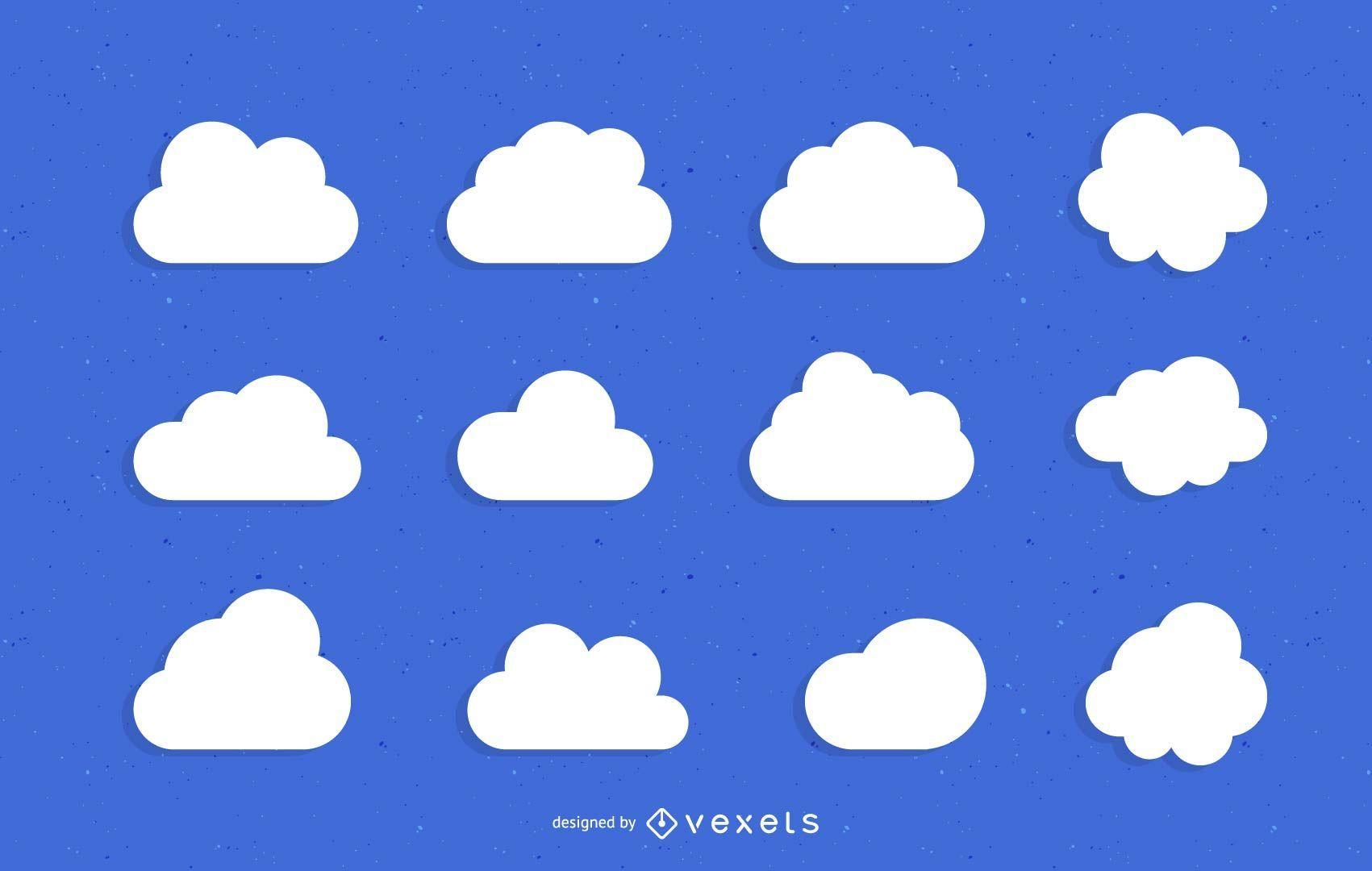 Conjunto de ilustración plana de nubes minimalistas