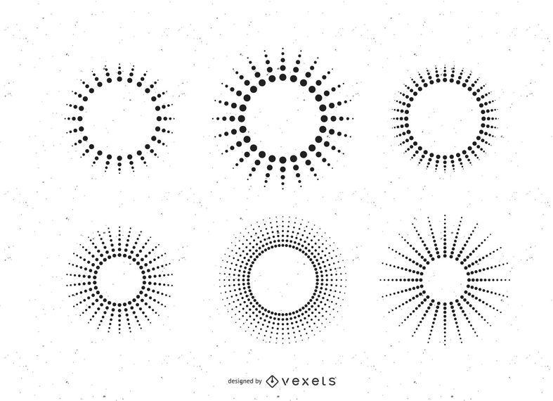 Feixes de sol de linha de ponto definido