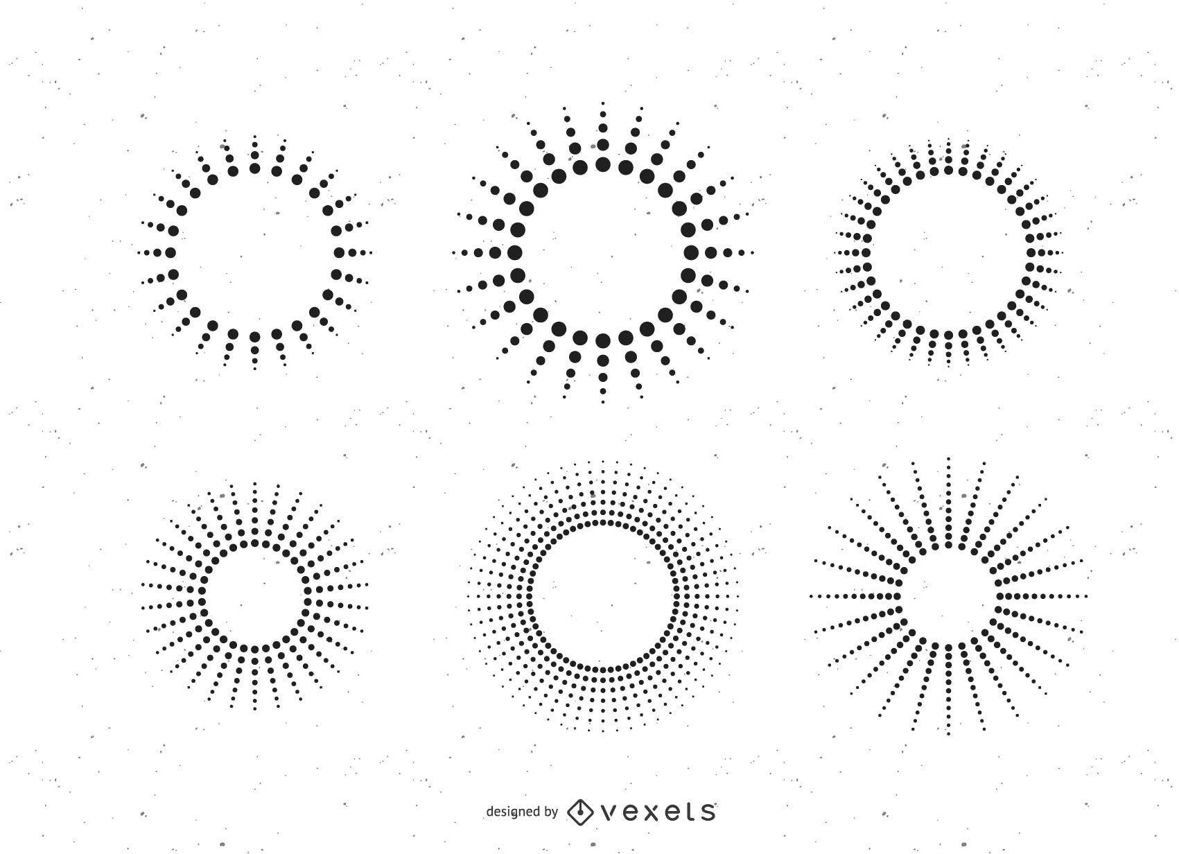 Conjunto de rayos de sol de línea de puntos
