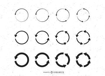 Conjunto de círculos de reciclagem de seta