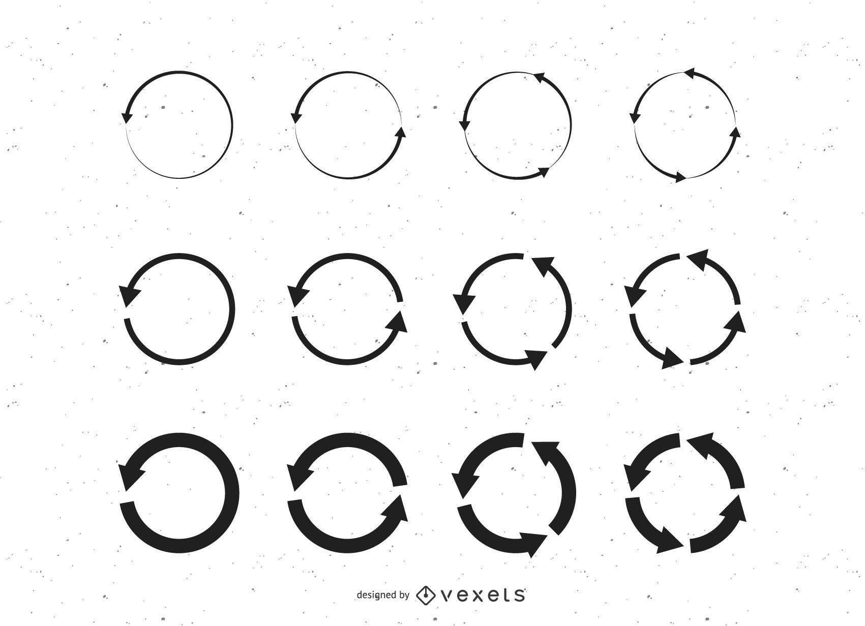 Conjunto de círculos de reciclagem de setas