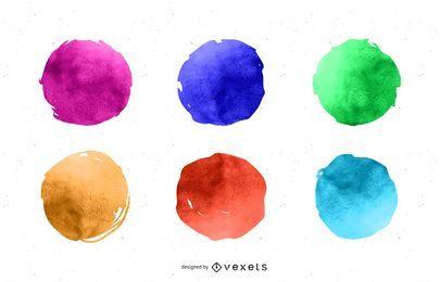 Conjunto de círculos de pintura em aquarela